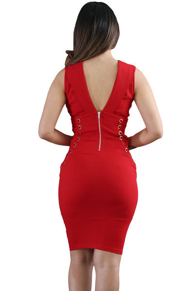 Her Stylish Red Lace It Sideways Bodycon Dress