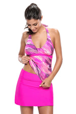 Her Stylish Rosy Print Halter Modern Tankini and Skort Swimsuit