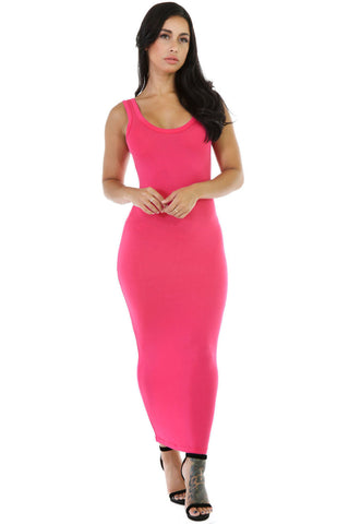 Her Stylish Rosy Stretchy Fit Long Sundress Jersey Dress