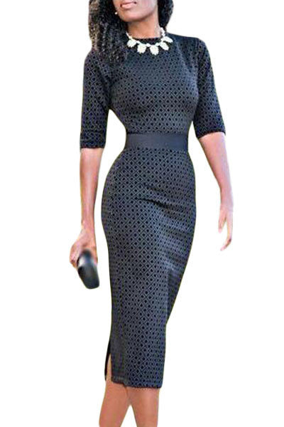 Her Stylish Slim Fitted Half Sleeve Flattering Print Black Midi Dress
