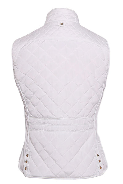 Her Stylish White High Neck Diamond Cotton Quilted Vest Coat