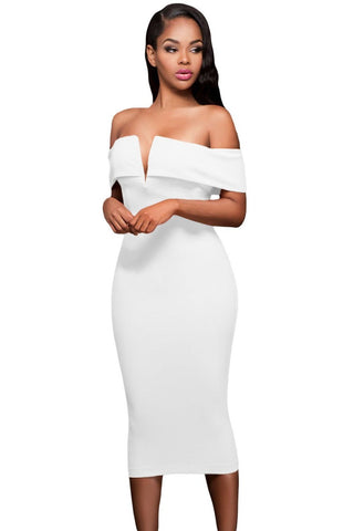 Her Stylish White Off-the-shoulder Slender Design Midi Dress