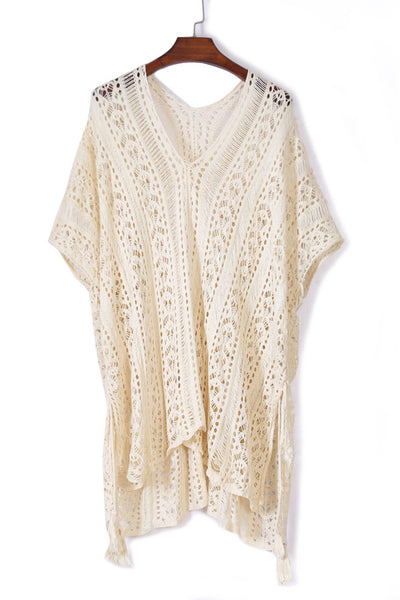 Her Summer White Crochet Knitted Tassel Tie Swimsuit Cover-up Beachwear