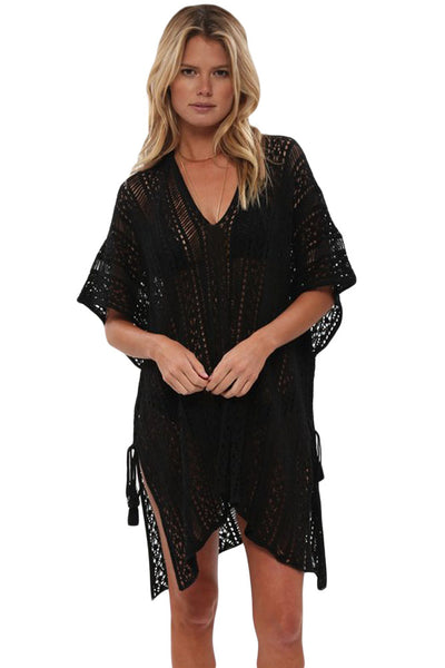 Her Summer Black Crochet Knitted Tassel Tie Swimsuit Cover Up