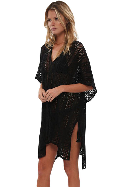 Her Summer Black Crochet Knitted Tassel Tie Swimsuit Cover-up Beachwear