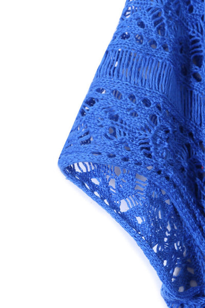 Her Summer Blue Crochet Knitted Tassel Tie Swimsuit Cover-up Beachwear