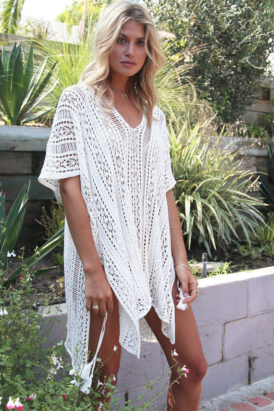 Her Summer White Crochet Knitted Tassel Tie Swimsuit Cover Up