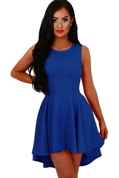 5c9693016f7 Her Sweet Cute Trendy Blue Pleated Hi-low Hem Sleeveless Skater Dress –  HisandHerFashion.com