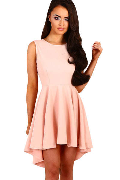 Her Sweet Cute Trendy Black Pleated Hi-low Hem Sleeveless Skater Dress