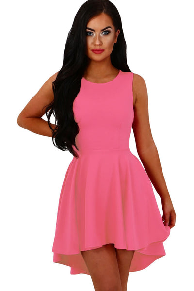 Her Sweet Cute Trendy Pink Pleated Hi-low Hem Sleeveless Skater Dress