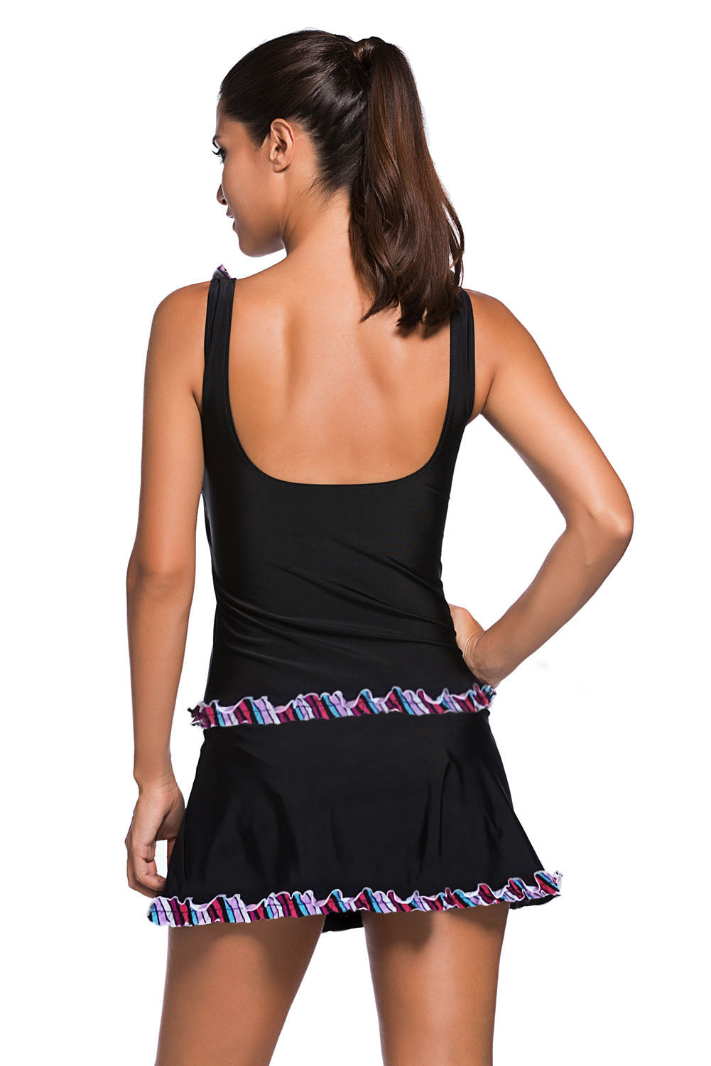 Her Swimsuit Ruffle Trim Purple Tank Top and Skort Tankini Swimwear