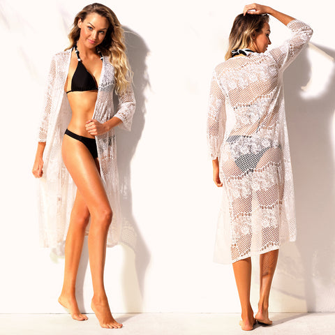 77a4628ea6bd90 Her Timeless Beachwear White Long Lace Beach Cover Up – HisandHerFashion.com