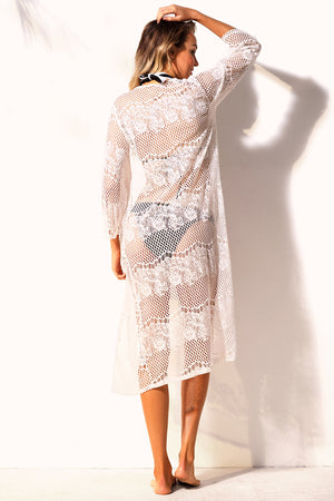 Her Timeless Beachwear White Long Lace Beach Cover Up