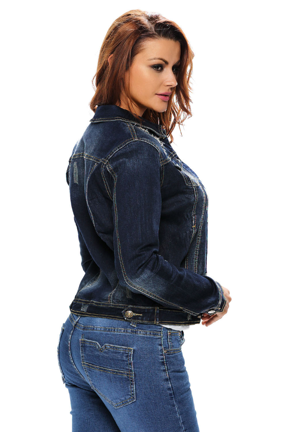 Her Trendy Style Dark Stone Wash Women Denim Jacket