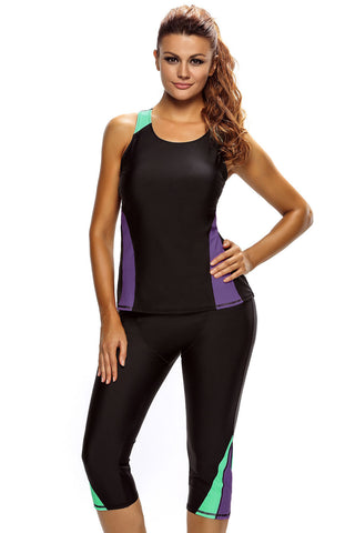 Her Trendy 2pcs Active Bathing Suit Seaside Wetsuit Swimwear