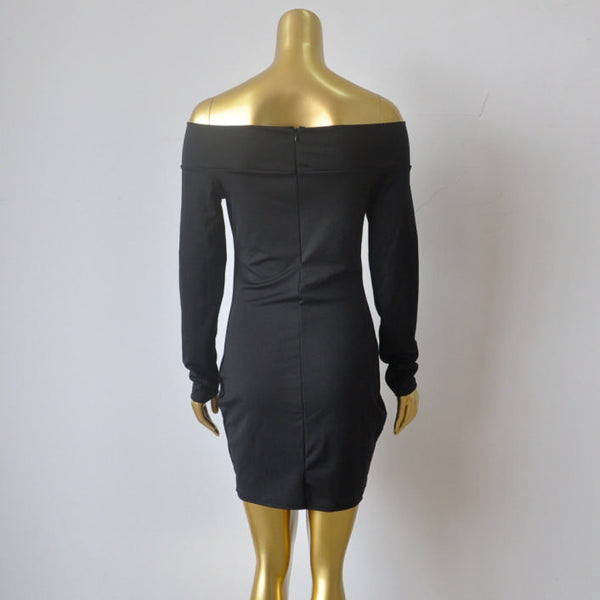 8026abe065ad Her Trendy Black Off-shoulder Zip Back Bodycon Long Sleeves Mini Dress