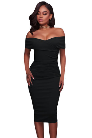 Her Trendy Black Ruched Off Shoulder Bodycon Cocktail Midi Dress