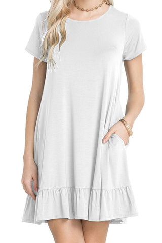 Her Trendy White Short Sleeve Draped Hemline Casual Shirt Dress