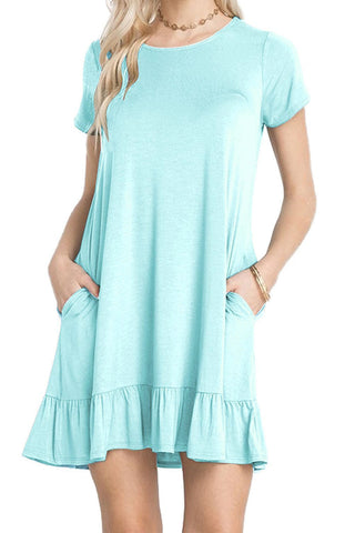Her Trendy Baby Blue Short Sleeve Draped Hemline Casual Shirt Dress
