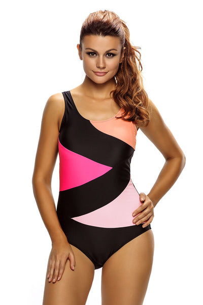 Her Trendy Color Block Front Lace up Black One Piece Swimsuit