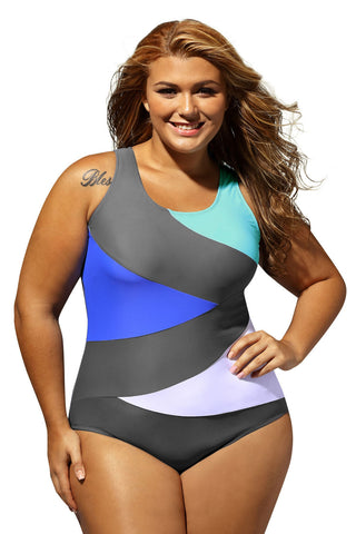 Her Trendy Color Block Front Lace up Grey One Piece PlusSize Swimsuit