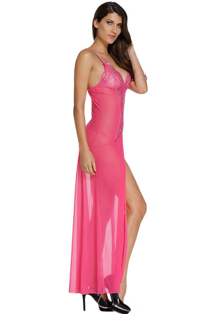 Her Trendy Floor Length Bride to Be Rosy Sleepwear Gown