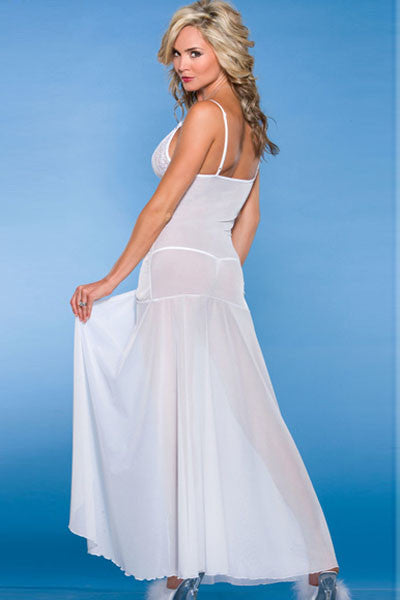 Her Trendy Floor Length Bride to Be White Sleepwear Gown ... 033a188ff
