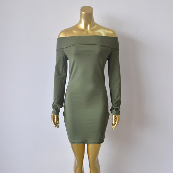 Her Trendy Green Off-shoulder Zip Back Bodycon Long Sleeves Mini Dress