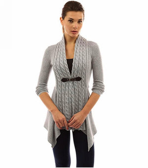 Her Trendy Khaki Cardigan Single Button Long Sleeve Knitted Outwear