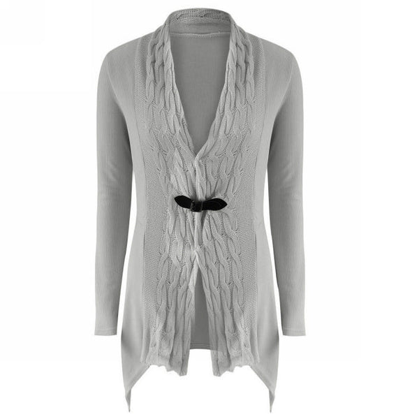 Her Trendy Grey Cardigan Single Button Long Sleeve Knitted Outwear