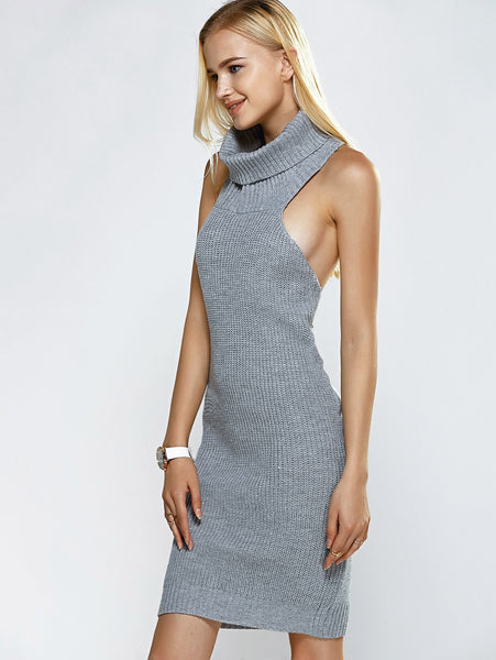 Her Grey Trendy Turtle Neck Sleeveless Ribbed Backless Dress