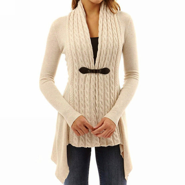 Her Trendy Black Cardigan Single Button Long Sleeve Knitted Outwear