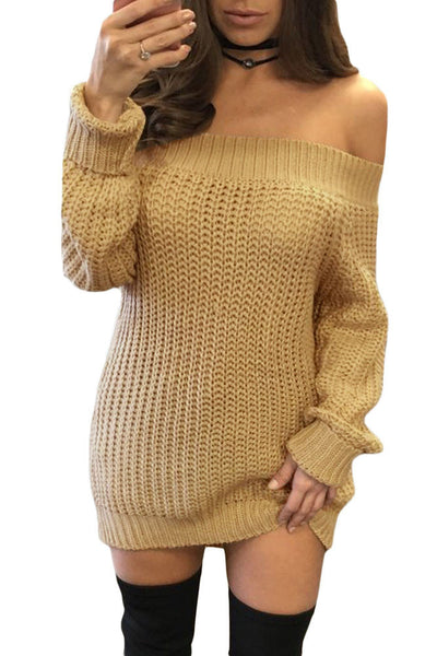 b5996eaa36bb Her Trendy Pink Off Shoulder Shredded Back Sweater Dress ...