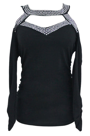 Her Trendy Luxe Look Studded Cold Shoulder Chic Black Cutout Top
