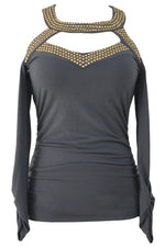 Her Trendy Luxe Look Studded Cold Shoulder Chic Charcoal Cutout Top