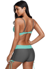 Her Trendy Mint Grey Beachwear Bicolor Patchwork Bikini Swimsuit
