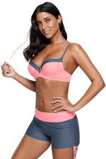 Her Trendy Peach Grey Beachwear Bicolor Patchwork Bikini Swimsuit