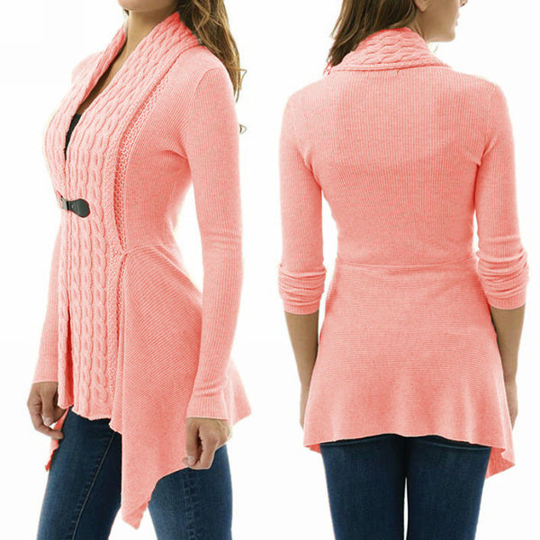 Her Trendy Pink Cardigan Single Button Long Sleeve Knitted Outwear