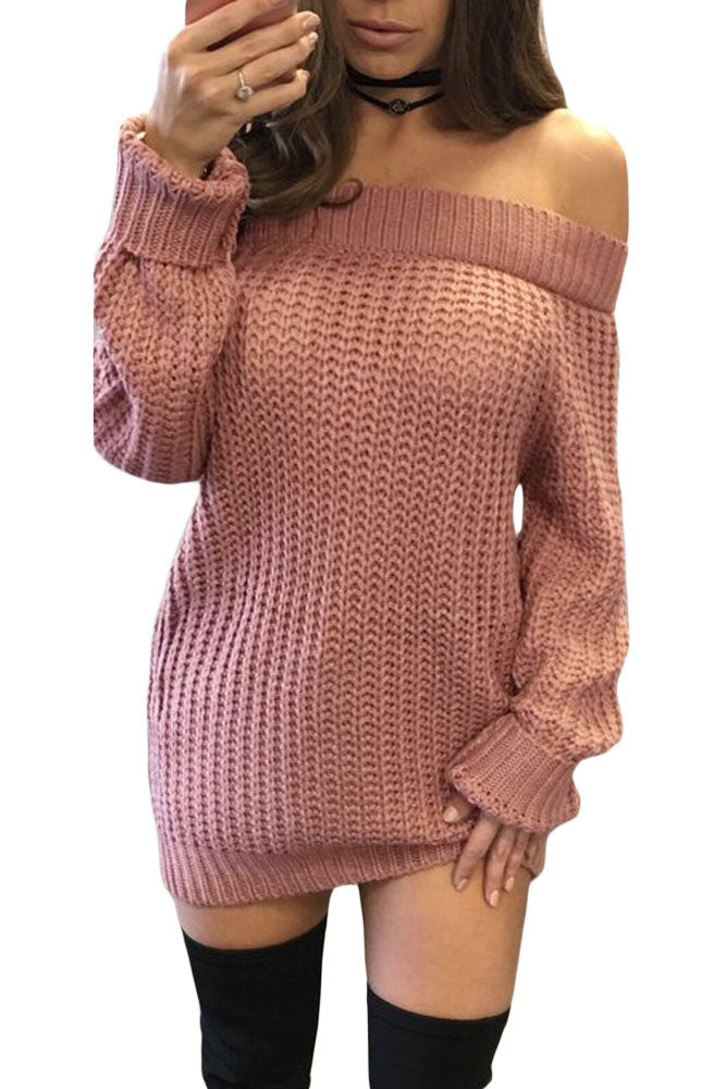Her Trendy Pink Off Shoulder Shredded Back Sweater Dress