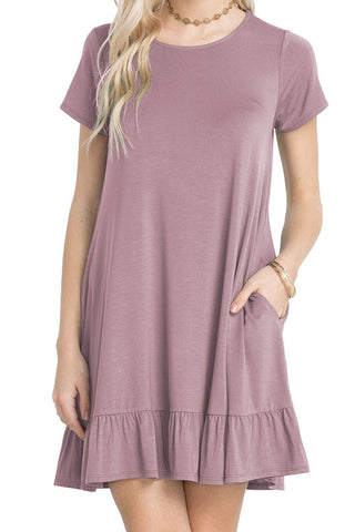 Her Trendy Grape Purple Short Sleeve Draped Hemline Casual Shirt Dress