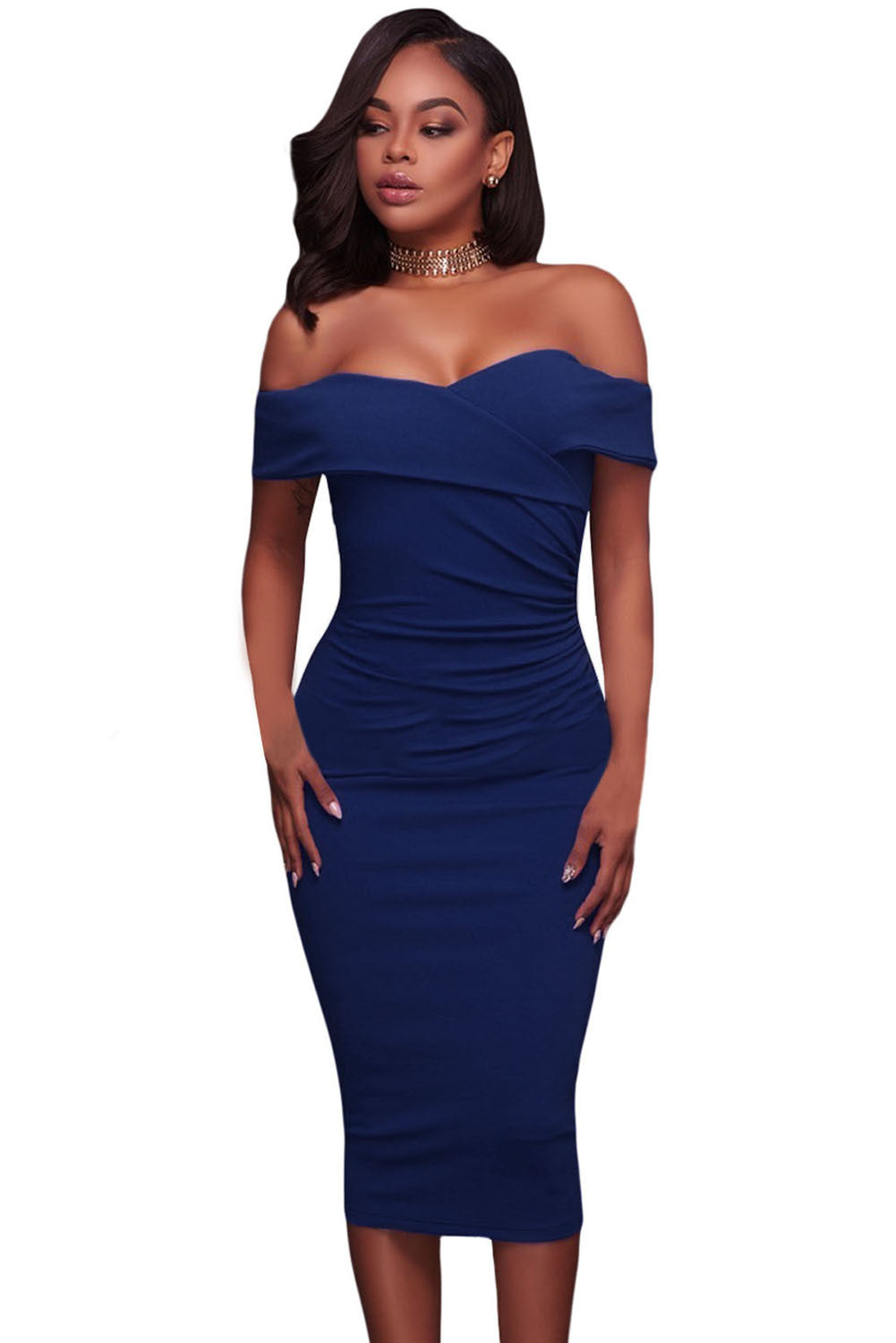 Her Trendy Royal Blue Ruched Off Shoulder Bodycon Cocktail Midi Dress
