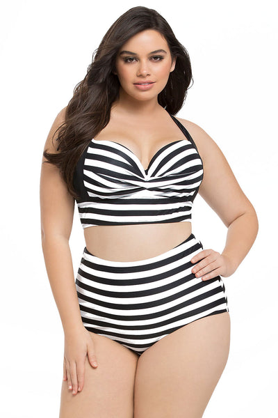 398ac5c47fe Her BIG n BOLD Striped Print Curvy High Waist Bikini Plussize Swimsuit –  HisandHerFashion.com