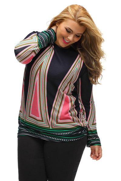 Her Trendy Unique Printed Long Sleeve Chic Plus Size Top