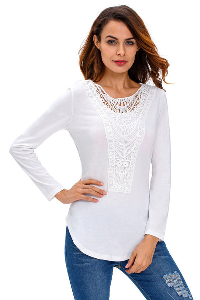 Her Trendy White Crochet Front Long Sleeve Chic Look Top