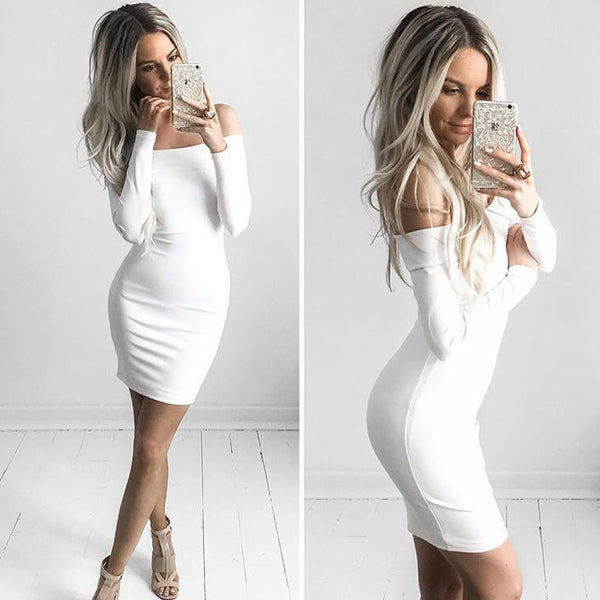 6aeff303782e Her Trendy White Off-shoulder Zip Back Bodycon Long Sleeves Mini Dress –  HisandHerFashion.com