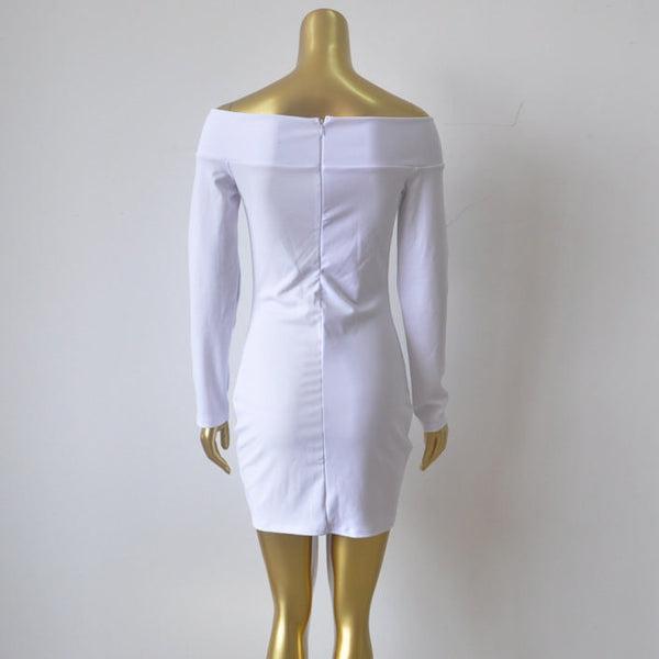 Her Trendy White Off-shoulder Zip Back Bodycon Long Sleeves Mini Dress