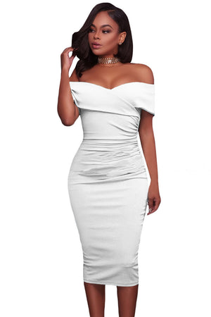 Her Trendy Red Ruched Off Shoulder Bodycon Cocktail Midi Dress