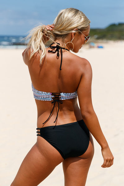 Her Tribal Print Bikini Top & Solid Side Strap Swimwear Bikini Set