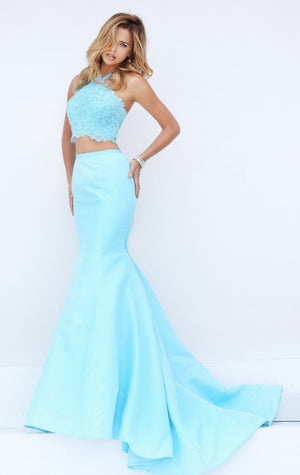 Her Two-Piece Floor-Length Mermaid Gown