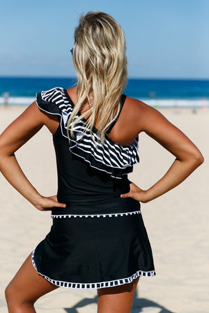 Her Two-piece Striped Ruffle One Shoulder Tankini Swimsuit